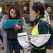 London, UK. 1st April, 2017. Avtivists Rolling Picket for Palestine Land Day rally against the racist, apartheid, Zionist state of Israel force lands grabbing, torture and killing the cruelty did to of Palestinian people and the illegal Balfour declaration to be revive outisde Marks and Spencer, London,UK. by See Li