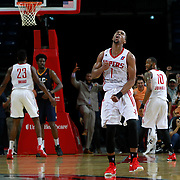 Isaiah Taylor of the Rio Grande Valley Vipers reacts to making the game winning shot in overtime against the Salt Lake City Stars at the State Farm Arena March 25, 2017 in Hidalgo, Texas. photo by Nathan Lambrecht