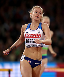 Great Britain's Meghan Beesley in action in the Women's 400m Hurdles Semi-finals during day five of the 2017 IAAF World Championships at the London Stadium. PRESS ASSOCIATION Photo. Picture date: Tuesday August 8, 2017. See PA story ATHLETICS World. Photo credit should read: John Walton/PA Wire. RESTRICTIONS: Editorial use only. No transmission of sound or moving images and no video simulation