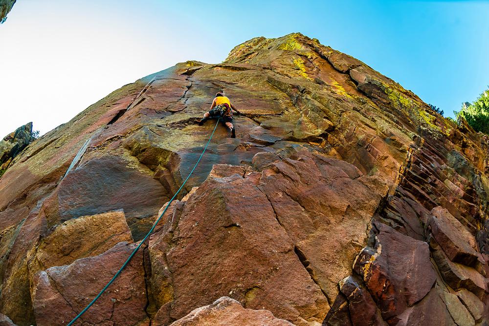 Rock climbing, Eldorado Canyon State Park, Eldorado Springs, near Boulder, Colorado USA. Eldorado Canyon is a world famous trad rock climbing area.