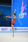 Neta Rivkin during qualifying at clubs in Pesaro World Cup at Adriatic Arena on 11 April 2015. Neta was born on June 23, 1991 in Petah Tiqwa Israel. <br />
