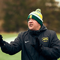 Women's Soccer Assistant Coach, Rob McCaffrey of the Regina Cougarsduring the Women's Soccer home game on Sat Oct 13 at U of R Field. Credit: Arthur Ward/Arthur Images