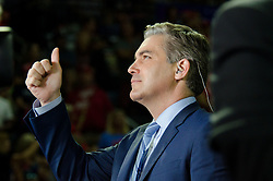 """Michael McCollum<br /> 10/1/18<br /> Jim Acosta, chiefWhite House correspondent for CNN, reacts to hecklers at President Donald J. Trump's Make America Great Again Rally in the Freedom Hall , Johnson City, Tennessee on Monday evening, October 1, 2018. <br /> The interaction appeared to be """"good natured""""."""