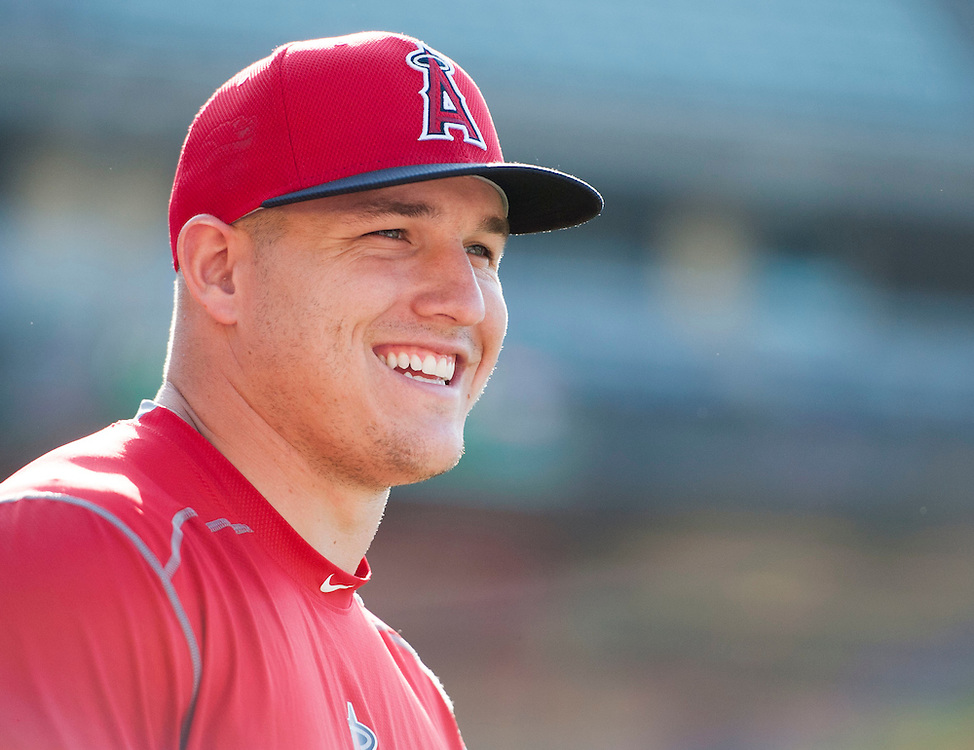 The Angels' Mike Trout smiles before the Angels loss Tuesday night at Dodger Stadium.<br /> <br /> / //ADDITIONAL INFO:   <br /> <br /> angels.0518.kjs  ---  Photo by KEVIN SULLIVAN / Orange County Register  -- 5/17/16<br /> <br /> The Los Angeles Angels take on the Los Angeles Dodgers in inter-league play at Dodger Stadium Tuesday night.
