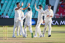Durban. 020318.Mitchell Starc of Australia celebrates the wicket of Vernon Philander of the Proteas with his team mates during day 2 of the 1st Sunfoil Test match between South Africa and Australia at Sahara Stadium Kingsmead on March 02, 2018 in Durban, South Africa. Picture Leon Lestrade/African News Agency/ANA