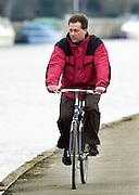 Henley. England, GB Rowing crews training on Henley Reach.<br /> Photo Peter Spurrier.<br /> 11/03/2004 - British International Rowing - Training<br /> GBR M2- coach John West..   [Mandatory Credit. Peter SPURRIER/Intersport Images]