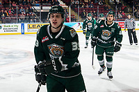 KELOWNA, BC - FEBRUARY 28: Gage Goncalves #39 of the Everett Silvertips skates to the bench to celebrate a first period goal against the Kelowna Rockets at Prospera Place on February 28, 2020 in Kelowna, Canada. (Photo by Marissa Baecker/Shoot the Breeze)