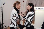 YASMINE LE BON; YASMINE MILLS BOTH COINCIDENTALLY WEARING PULLOVERS BY BELLA FREUD.. , Elemis 20th Anniversary in partnership with Mothers4Children charity. Party to celebrate 20 years in business and to raise money for Mothers4children and new product launches. One Marylebone. London. 2 February 2010.