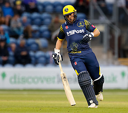 Glamorgan's Chris Cooke in action today <br /> <br /> Photographer Simon King/Replay Images<br /> <br /> Vitality Blast T20 - Round 14 - Glamorgan v Surrey - Friday 17th August 2018 - Sophia Gardens - Cardiff<br /> <br /> World Copyright © Replay Images . All rights reserved. info@replayimages.co.uk - http://replayimages.co.uk