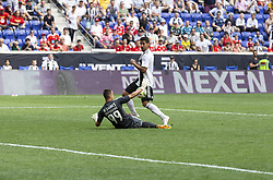 July 28, 2018 - Harrison, New Jersey, United States - Goalkeeper Odisseas Vlachodimos (99) of Benfica saves during ICC game against Juventus at Red Bull Arena Juventus won 1 - 1 (4 -2) on penalties (Credit Image: © Lev Radin/Pacific Press via ZUMA Wire)