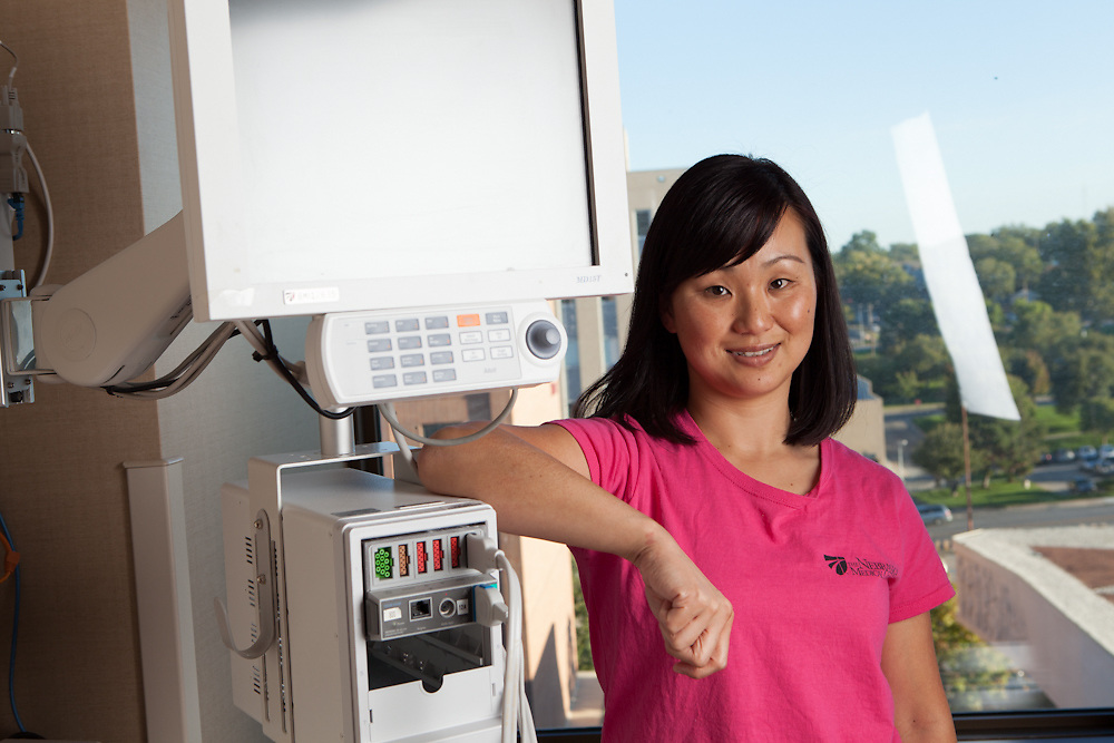 18 September 2012- Kyoko McFadden is photographed at UNMC for the Omaha Chamber.