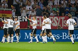 02.09.2011, Veltins Arena, Gelsenkrichen, GER, UEFA EURO 2012 Qualifikation, Deutschland (GER) vs Oesterreich (AUT), im Bild Jubel nach dem 1:0 durch Miroslav Klose (GER, Lazio Rom) // during the UEFA Euro 2012 qualifying round Germany vs Austria  at Veltins Arena, Gelsenkirchen 2011-09-02 EXPA Pictures © 2011, PhotoCredit: EXPA/ nph/  Kurth       ****** out of GER / CRO  / BEL ******