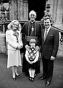 Ireland's 'golden tenor', Frank Patterson, with his family and Dr Dermot Ryan, Archbishop of Dublin, at the conferring of Papal Honours. The internationally renowned Irish singer, following in the tradition of singers such as Count John McCormack and Josef Locke, was awarded the Knighthood of St Gregory by the Pope. He was also a Knight of Malta and a Knight Commander of the Holy Sepulchre of Jerusalem.<br /> 30 August 1984