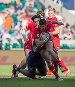 """Twickenham, Surrey United Kingdom. CAnadian Justin DOUGLAS,, running with the ball during the  3/4 Playoff game USA vs Canada at the """"2017 HSBC London Rugby Sevens"""",  Sunday 21/05/2017 RFU. Twickenham Stadium, England    <br /> <br /> [Mandatory Credit Peter SPURRIER/Intersport Images]"""
