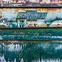 Rusty cars in the Nevada desert.