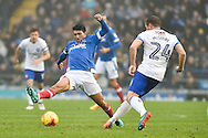 Portsmouth Midfielder, Danny Rose (4) and Mansfield Town Midfielder, Jamie McGuire (24) during the EFL Sky Bet League 2 match between Portsmouth and Mansfield Town at Fratton Park, Portsmouth, England on 12 November 2016. Photo by Adam Rivers.