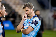 Jake Gordon of the Waratahs reacts following the Round 3 Trans-Tasman Super Rugby match between the NSW Waratahs and the Canterbury Crusaders at WIN Stadium in Wollongong, Saturday, May 29, 2021. (AAP Image/David Neilson) NO ARCHIVING, EDITORIAL USE ONLY