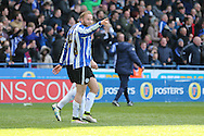 Sheffield Wednesday midfielder Barry Bannan (41) gestures to Sheffield Wednesday striker Lucas Joao (18) after the Cardiff City defender, Lee Peltier (2)own goal 2-0 during the Sky Bet Championship match between Sheffield Wednesday and Cardiff City at Hillsborough, Sheffield, England on 30 April 2016. Photo by Phil Duncan.