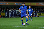 AFC Wimbledon midfielder Anthony Wordsworth (40) lining up to take a shot during the EFL Sky Bet League 1 match between AFC Wimbledon and Lincoln City at the Cherry Red Records Stadium, Kingston, England on 2 November 2019.