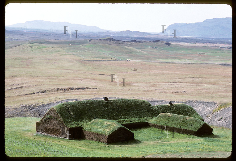 Reconstructed Viking farm at Stong features 40' central hall; ruins dated from 11th century Iceland