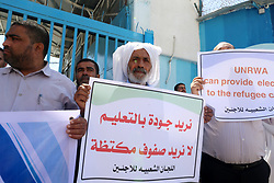September 6, 2017 - Gaza, Palestine - A sit-in for the refugees to send a message to the UN Commissioner-General Pierre Krinbol, who is in the Gaza Strip in front of the UN headquarters in Gaza city, on Sept. 6, 2017. (Credit Image: © Momen Faiz/NurPhoto via ZUMA Press)