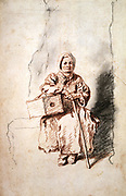 The Savoyard'.    Jean Antoine Watteau (1684-1721) French artist. Red crayon and pencil.