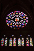 Stained glass window in transept of Cathedral de Santa Maria de Leon in Leon, Castilla y Leon, Spain