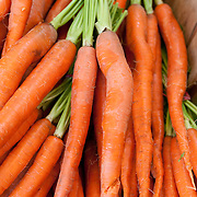 Carrots on sale at a farmstand in Concord, MA