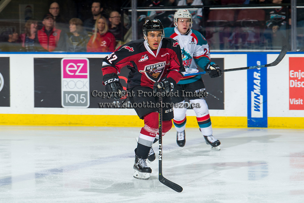 KELOWNA, BC - JANUARY 26: Justin Sourdif #42 of the Vancouver Giants skates against the Kelowna Rockets  at Prospera Place on January 26, 2019 in Kelowna, Canada. (Photo by Marissa Baecker/Getty Images)