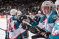 KELOWNA, CANADA - APRIL 14: Kole Lind #16 of the Kelowna Rockets stands on the bench celebrating a goal against the Portland Winterhawks on April 14, 2017 at Prospera Place in Kelowna, British Columbia, Canada.  (Photo by Marissa Baecker/Shoot the Breeze)  *** Local Caption ***