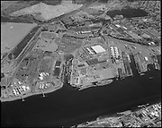 """Ackroyd 19390-3 """"Schnitzer Industries. Aerials. July 21, 1975"""" (St. Johns, north of Terminal 4, former Oregon Shipbuilding corp site.)"""