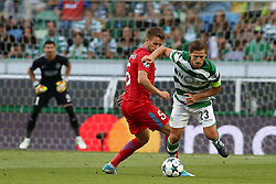 August 15, 2017 - Lisbon, Portugal - Sporting's midfielder Adrien Silva from Portugal (R ) vies with Steaua's midfielder Mihai Pintilii during the UEFA Champions League play-offs first leg football match between Sporting CP and FC Steaua Bucuresti at the Alvalade stadium in Lisbon, Portugal on August 15, 2017. (Credit Image: © Pedro Fiuza/NurPhoto via ZUMA Press)