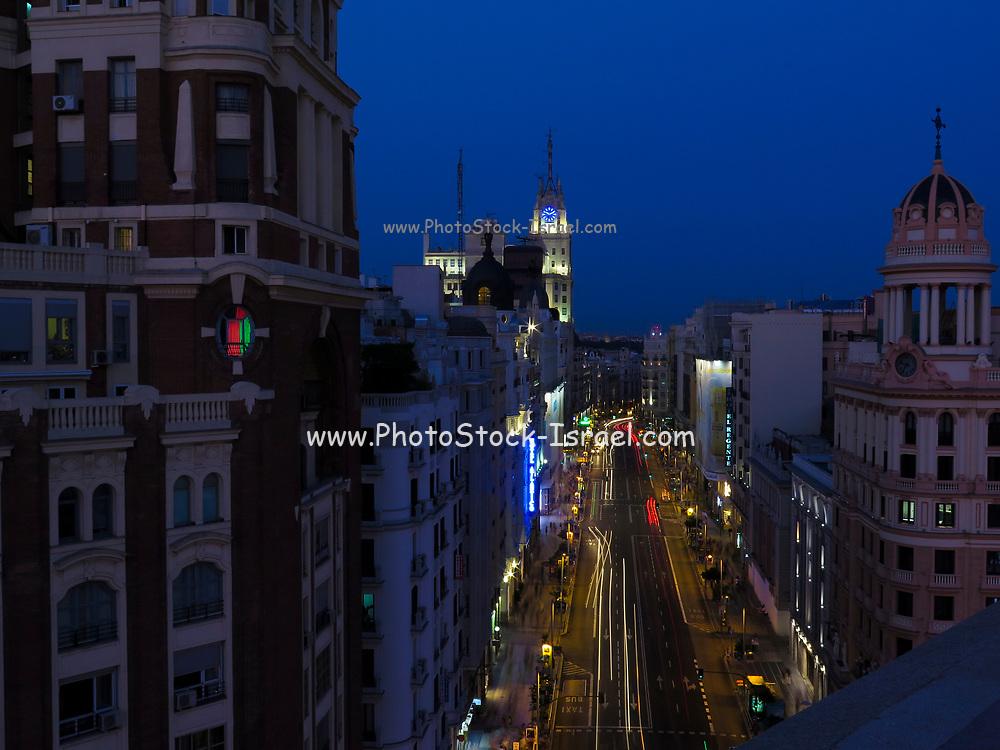 Elevated view of Gran Via, Madrid, Spain at night
