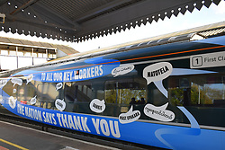 NHS & Key Workers thank you artwork on a Great Western Railways train at Truro station, Cornwall UK Oct 2020