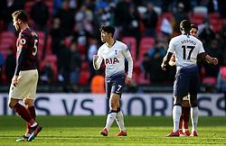 Tottenham Hotspur's Son Heung-min celebrates after the Premier League match at Wembley Stadium, London.