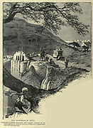 The necropolis of Asyut, Consisting of ancient rock-tombs and a modern cemetery  Wood engraving from 'Picturesque Palestine, Sinai and Egypt' by Wilson, Charles William, Sir, 1836-1905; Lane-Poole, Stanley, 1854-1931 Volume 4. Published in 1884 by J. S. Virtue and Co, London