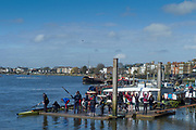 Hammersmith. London. United Kingdom,  Hammersmith. London.  General View, crews boating from the Furnivall SC, Pontoon. 2018 Men's Head of the River Race.  Championship Course, River Thames, 2018 Men's Head of the River Race. , Championship Course, Putney to Mortlake. River Thames, <br /> <br /> Sunday   11/03/2018<br /> <br /> [Mandatory Credit:Peter SPURRIER Intersport Images]<br /> <br /> Leica Camera AG  M9 Digital Camera  1/1500 sec. 50 mm f. 160 ISO.  17.5MB