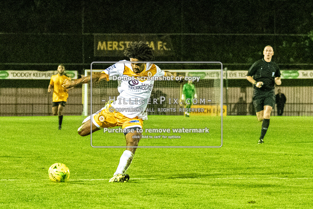 MERSTHAM, UK - OCTOBER 15: Bradley Pritchard, of Cray Wanderers FC, lines up a shot during the BetVictor Isthmian Premier League match between Merstham and Cray Wanderers at The Whisky Bible Stadium on October 15, 2019 in Merstham, UK. <br /> (Photo: Jon Hilliger)