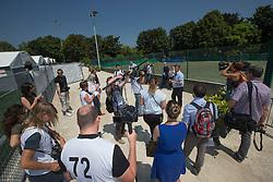 Press presentation facilities<br /> WEG Test event dressage - Caen 2014<br /> © Hippo Foto - Leanjo de Koster