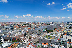 Daytime skyline view of Berlin with TV Tower of Fernsehturm in Germany