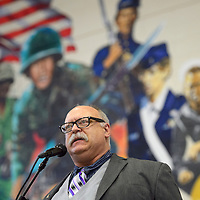 020615       Cayla Nimmo<br /> <br /> Patrick Moore acts as the emcee for the ceremony honoring Hiroshi Miyamura with the FBI Director's Community Leadership Award held at Miyamura High School in Gallup Friday.