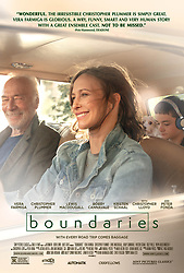 RELEASE DATE: September 13, 2018 TITLE: Boundaries  STUDIO: Sony Pictures Classics DIRECTOR: Shana Feste PLOT: Laura and her son Henry are forced to drive her estranged, pot-dealing, carefree father Jack across country after being kicked out of a nursing home. STARRING: Vera Farmiga, Christopher Plummer, Lewis MacDougall. (Credit Image: ? Sony Pictures Classics/Entertainment Pictures/ZUMAPRESS.com)