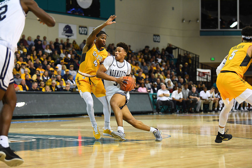 Conway, SC - November 16, 2018 - HTC Center: Deion Hammond (3) of the of the Monmouth University Hawks during the 2018 Myrtle Beach Invitational.<br /> (Photo by Joe Faraoni / ESPN Images)
