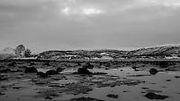 Winter Tidal Flat Along Balsfjorden Near Tromsø. Image taken with a Leica X2 camera (ISO 100, 24 mm, f/8, 1/100 sec). In camera B&W.