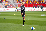 Brentford Midfielder Mads Bidstrup (#41) in the warm up ahead of the EFL Sky Bet Championship match between Brentford and Watford at Brentford Community Stadium, Brentford, England on 1 May 2021.