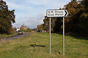 The sign post to HM prison Guys Marsh. HMP Guys Marsh is a category C prison in Dorset housing 578 prisoners.