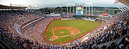 A panoramic view of Kauffman Stadium during a game between the Texas Rangers and the Kansas City Royals during the fourth inning.