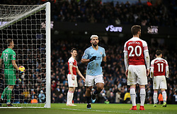 Manchester City's Sergio Aguero celebrates scoring his side's second goal of the game during the Premier League match at the Etihad Stadium, Manchester.