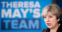File photo dated 09/05/17 of Prime Minister Theresa May during a campaign visit to York Barbican. The Prime Minister's leadership has been at the front and centre of branding that has decorated the stump speeches and visits she has made over the last month.