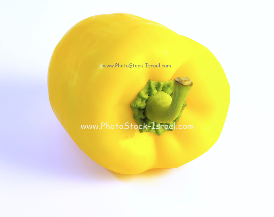 Yellow Bell pepper (Capsicum annuum) on white background